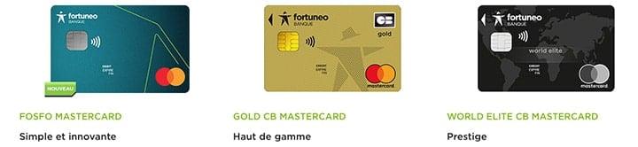 les trois cartes bancaires proposées par fortuneo
