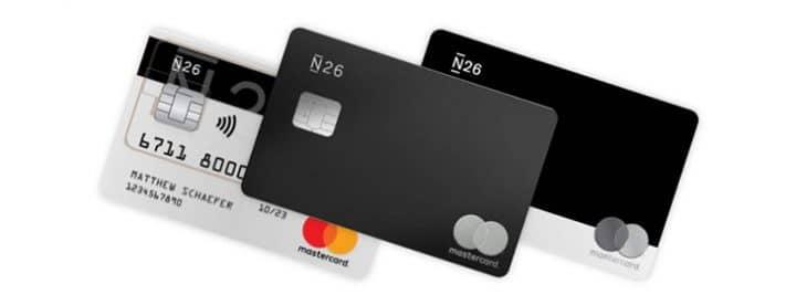 cartes bancaires n26 simple black et metal empilées