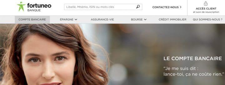 capture d'écran page d'accueil fortuneo compte en ligne