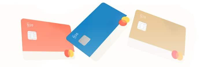 3 cartes fictives de la neobanque n26