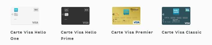 carte hello one hello prime visa classic visa premier hello bank
