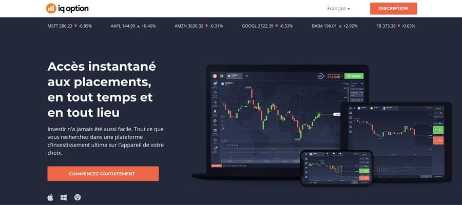 screenshot iq option interface